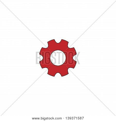 Machine gear. Red flat simple modern illustration icon with stroke. Collection concept vector pictogram for infographic project and logo