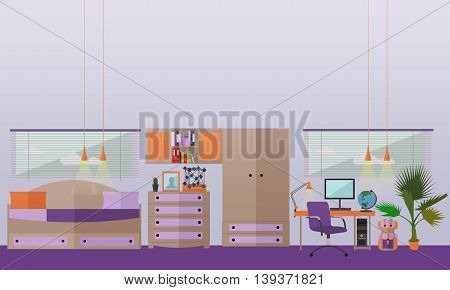 Teenager bedroom interior objects in flat style. Vector illustration. House room design elements and icons.