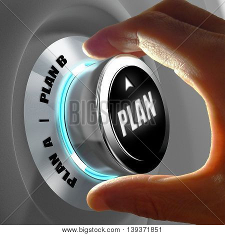 Hand selecting Plan A or Plan B. Concept of making a decision. 3D Rendering