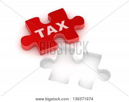 Tax concept with red puzzle piece This is a 3d computer generated image. Isolated on white.