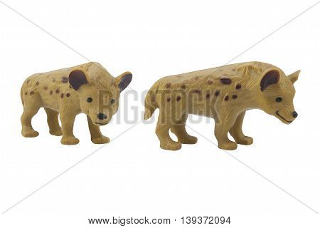 Isolated hyena toy profile and angle view photo.