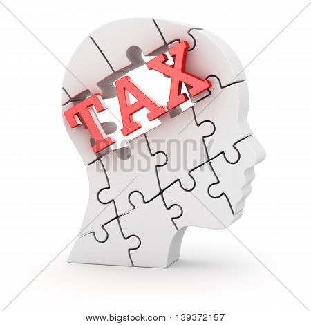 Human head made of puzzle pieces with tax text This is a 3d computer generated image. Isolated on white.