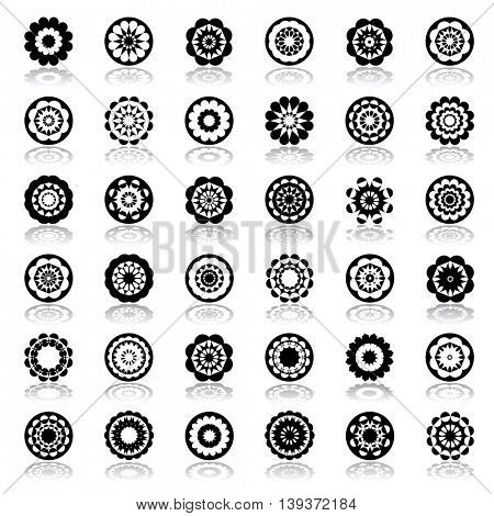 Design elements in circle and floral shape. Abstract icons set. Vector art.