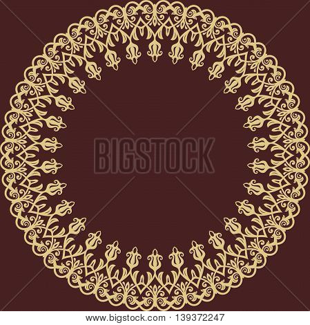 Oriental golden round frame with arabesques and floral elements. Floral fine border. Greeting card with place for text