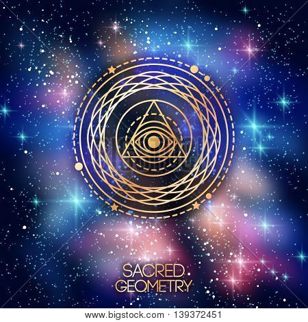 Sacred Geometry Emblem with Eye in Triangle on Shining Space Background. Vector illustration. Geometric Logo Design, Spirograph Interweaving Lines. Alchemy Symbol, Occult and Mystic Sign.