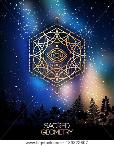 Sacred Geometry Emblem with Eye in Hexagon on Shining Milky Way Galaxy Space Background. Vector illustration. Geometric Logo Design. Alchemy Symbol, Occult and Mystic Masonic Sign.