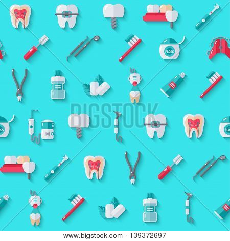 Seamless Dentist Equipment Pattern on Blue Background with Shadow. Vector Illustration. Dental and Orthodontics Tools, Teeth.