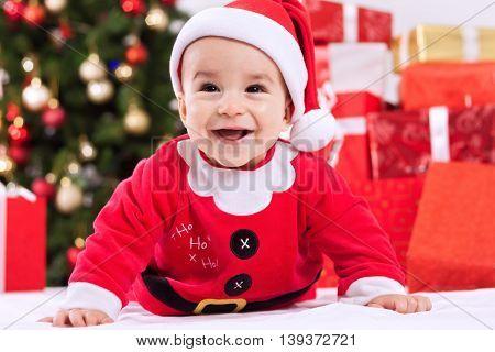 Fuuny Smiling Baby Child Santa Claus