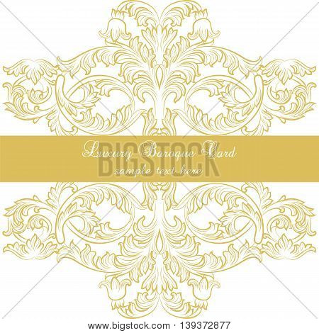 Luxury Baroque Ornamented card in Gold. Vector Victorian style decor card for wedding invitations greeting cards ceremony events
