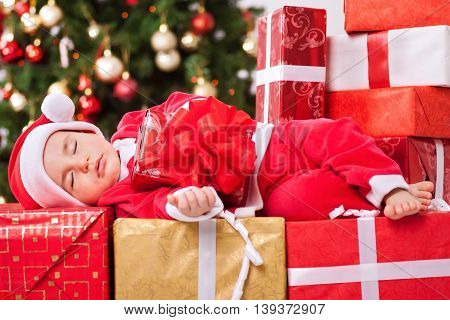 Christmas Time, Little Baby Child Sleeping And Holding Gift