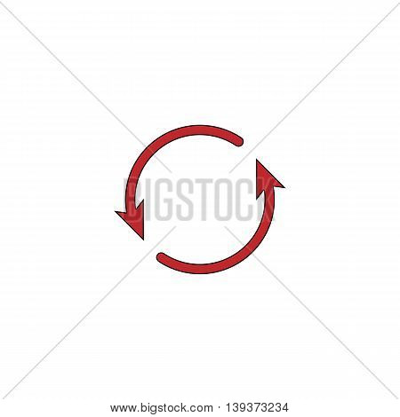 Arrow circle - cycle, loop, roundabout . Red flat simple modern illustration icon with stroke. Collection concept vector pictogram for infographic project and logo
