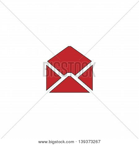 Envelope Mail. Red flat simple modern illustration icon with stroke. Collection concept vector pictogram for infographic project and logo