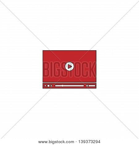 Video player for web. Red flat simple modern illustration icon with stroke. Collection concept vector pictogram for infographic project and logo