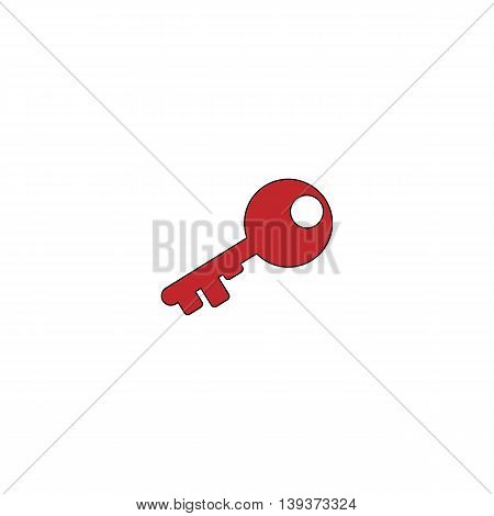 Old key silhouette. Red flat simple modern illustration icon with stroke. Collection concept vector pictogram for infographic project and logo