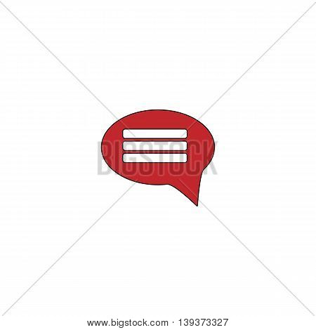 Chat. Red flat simple modern illustration icon with stroke. Collection concept vector pictogram for infographic project and logo