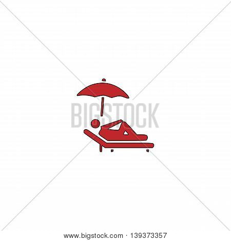 Simple Relax under an umbrella on a lounger. Red flat simple modern illustration icon with stroke. Collection concept vector pictogram for infographic project and logo