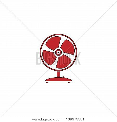 Table fan. Red flat simple modern illustration icon with stroke. Collection concept vector pictogram for infographic project and logo