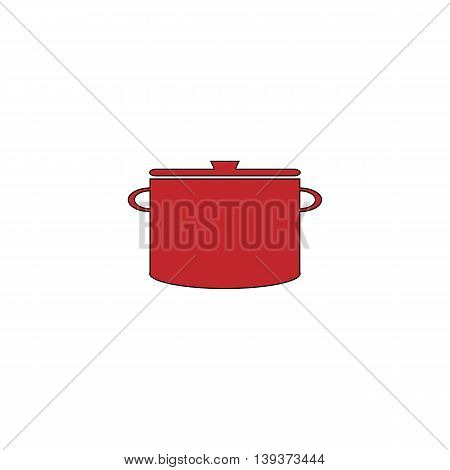 Kitchen pan. Red flat simple modern illustration icon with stroke. Collection concept vector pictogram for infographic project and logo