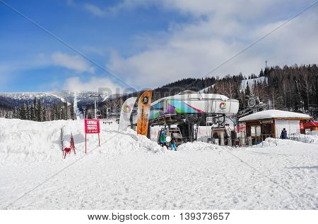 SHEREGESH RUSSIA - February 29 2016: Landing area of the ski lifts. on the ski resort Sheregesh sector E