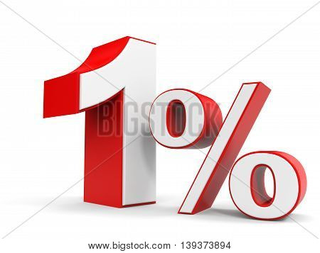 Discount 1 percent off sale. 3D illustration.