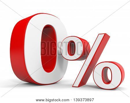 Discount 0 percent off sale. 3D illustration.