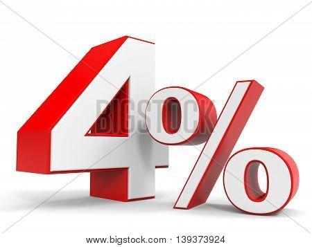 Discount 4 percent off sale. 3D illustration.