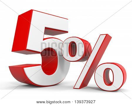 Discount 5 percent off sale. 3D illustration.