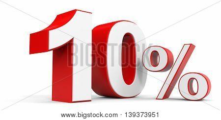 Discount 10 percent off sale. 3D illustration.