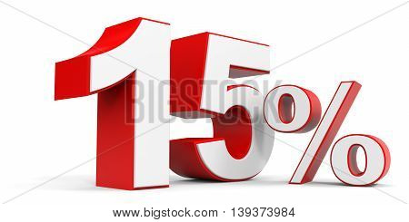 Discount 15 percent off sale. 3D illustration.