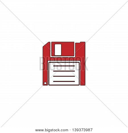 Diskette Save. Red flat simple modern illustration icon with stroke. Collection concept vector pictogram for infographic project and logo