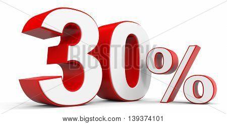 Discount 30 percent off sale. 3D illustration.