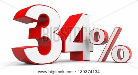 Discount 34 percent off sale. 3D illustration.