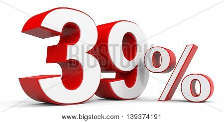 Discount 39 percent off sale. 3D illustration.