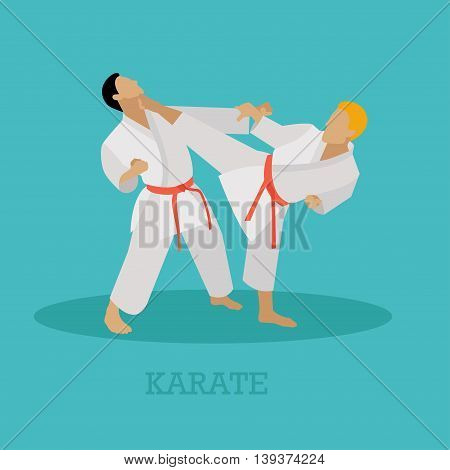 Martial arts people silhouette. Sport positions vector illustration. Design elements and icons. Martial arts fighters.