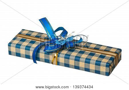 Holiday gift box decorated with ribbon isolated on white background