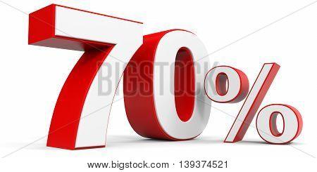 Discount 70 percent off sale. 3D illustration.