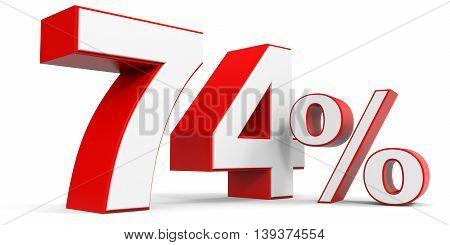 Discount 74 percent off sale. 3D illustration.