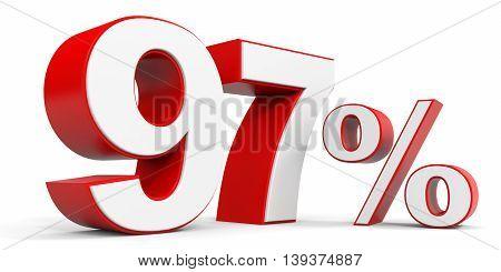 Discount 97 percent off sale. 3D illustration.