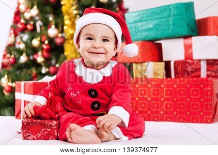 Merry Christmas With Baby Little Santa Claus