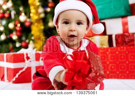 Baby Child Holding Christmas Present