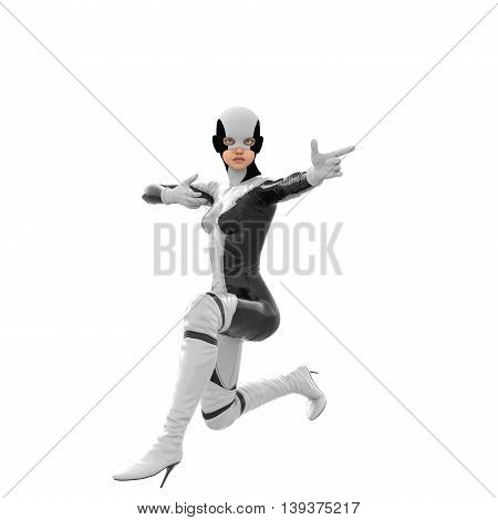one teenage girl in a white dark super suit. Sitting on one knee. Turning to the side and points a finger. 3D rendering, 3D illustration