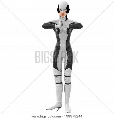 one teenage girl in a white dark super suit. Stands evenly on two legs. Clenching his fingers. 3D rendering, 3D illustration