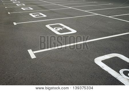 Road markings for the disabled. Marks on the pavement.