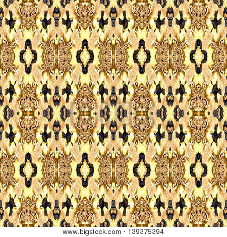 Abstract decorative multicolor (brown, gold, black) texture - kaleidoscope pattern