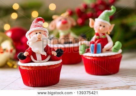 Festive decorated Christmas mini cupcakes, christmas concept