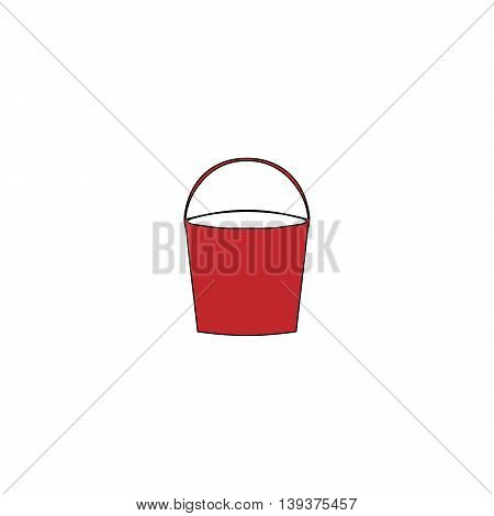 Bucket. Red flat simple modern illustration icon with stroke. Collection concept vector pictogram for infographic project and logo