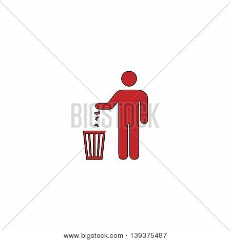 Bin. Red flat simple modern illustration icon with stroke. Collection concept vector pictogram for infographic project and logo