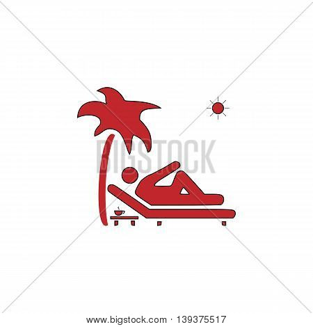 Man relaxing on a deck chair under palm tree and standing table with a cup of coffee. Red flat simple modern illustration icon with stroke. Collection concept vector pictogram for infographic project and logo