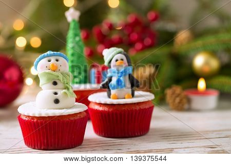 festive cupcakes for christmas holiday, christmas concept