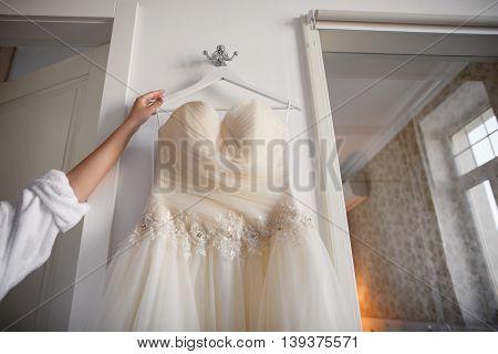 Wedding morning bridal peach dress, beginning of happy day
